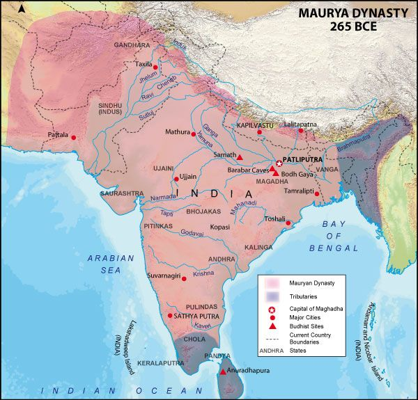 Mauryan Empire Map | Maps of History | Ancient indian