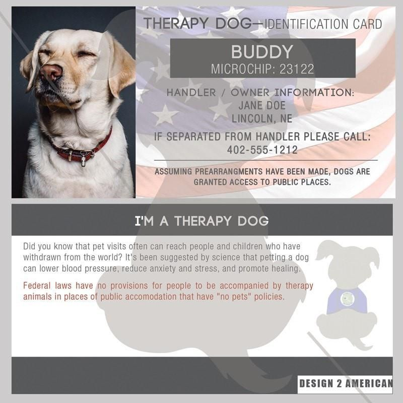 ID Card Therapy Dog Therapy dogs, Dogs, Dog clicker