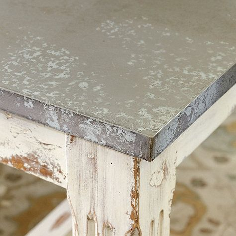 Messina Dining Table Zinc Table Top Rustic Dining Furniture Zinc Countertops