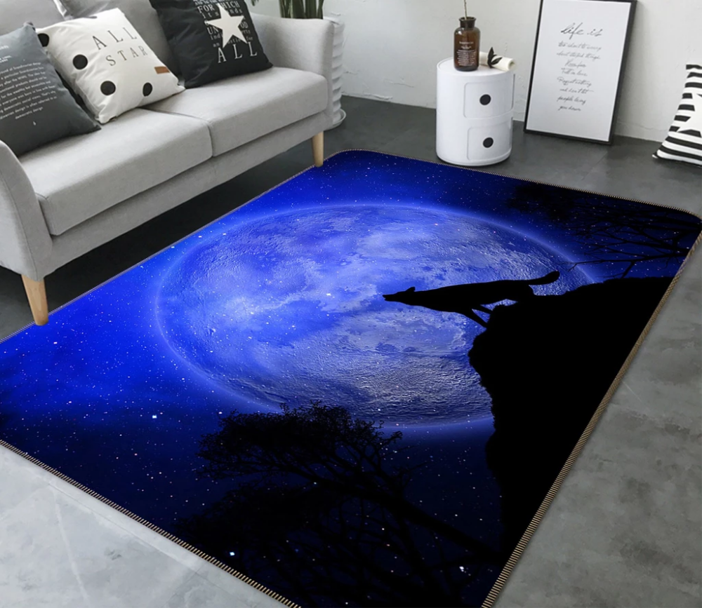 3d Moon Wolf 210 Animal Non Slip Rug Mat In 2020 Rugs Rugs On