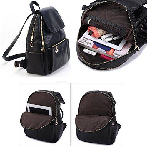 Samaz Backpack for Girls Black Leather Backpack School Bag for ...