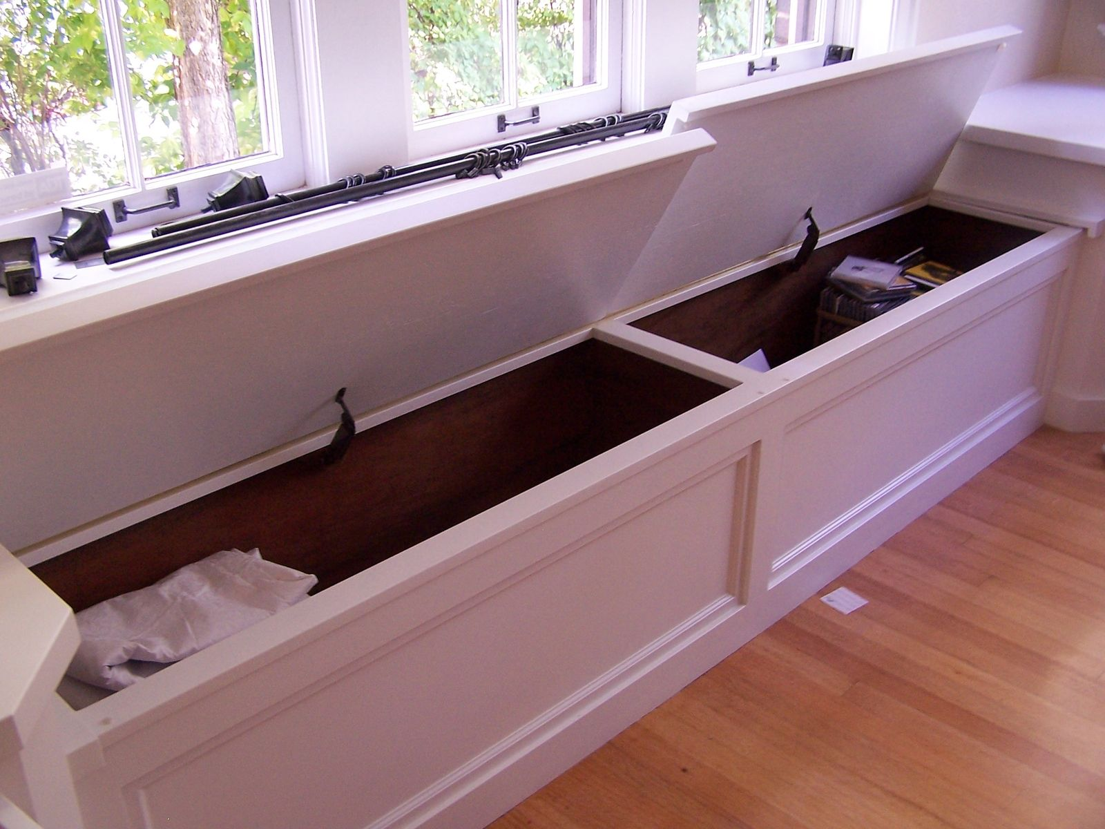 Custom Made Window Seat Toy Box With End Tables Inside
