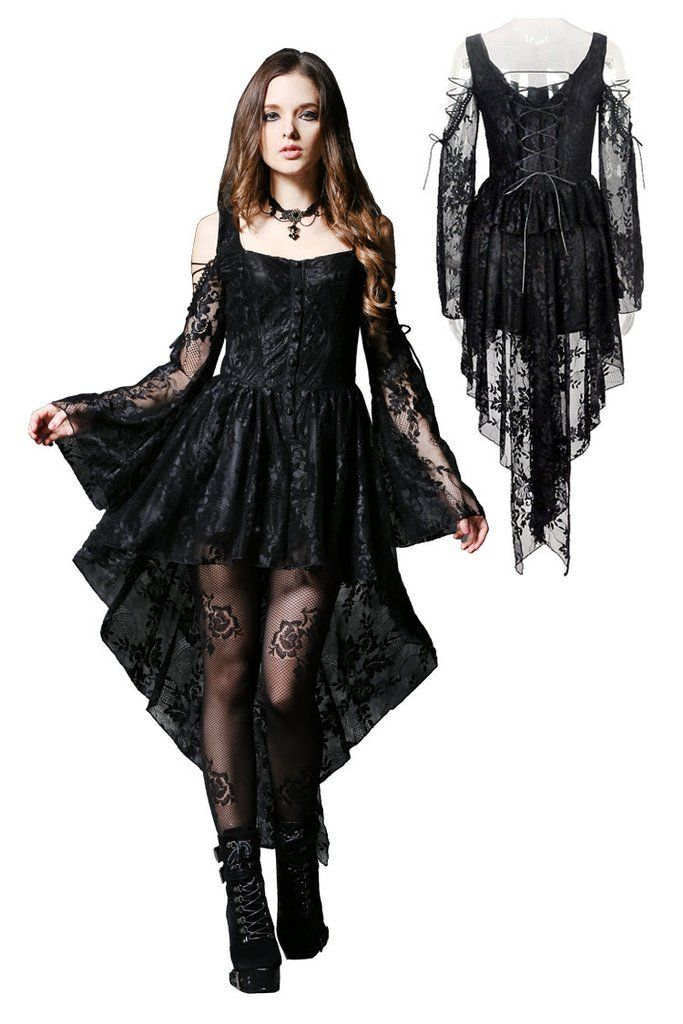 fcde778a42d1 DW053BK Gothic Gothic ghost dovetail lace dress with button row