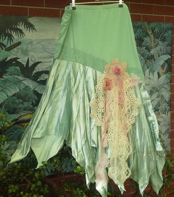 Upcycled clothing Plus size skirt Gorgeous pastel green Skirt Original XL Art to wear Boho Stretch waist skirt. Vintage lace @ doilies