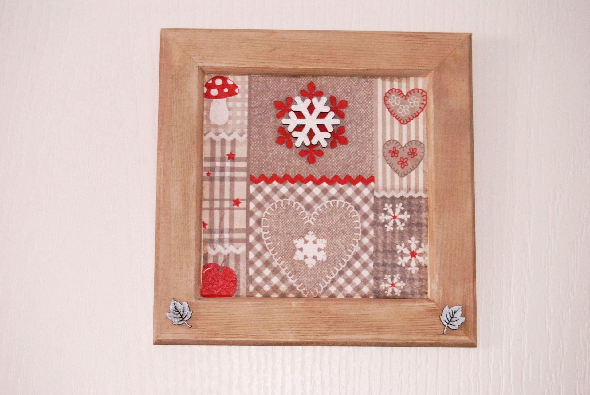 Ambiance Et Style Tableau cadre effet patchwork de style ambiance montagne, chalet