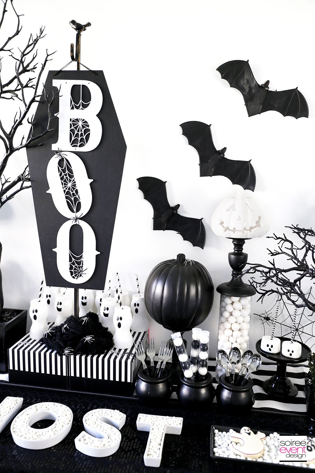 Boo Black And White Halloween Party White Halloween Party Halloween Party Backdrop Ghost Party