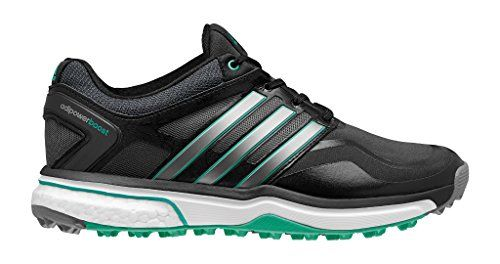 adidas Women's W Adipower S Boost Golf Shoe, Black/Dark Silver Metallic/Bright  Green, 7 M US ** More info @