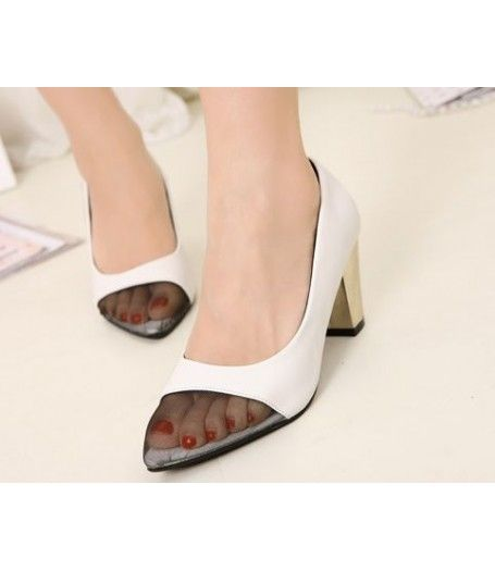 #Vintage #White #Leather #Pointed #Mesh #Toe #Metallic #Heels #CourtShoes #Womens #Shoes £32.99 @ ShanghaiTrends.co.uk