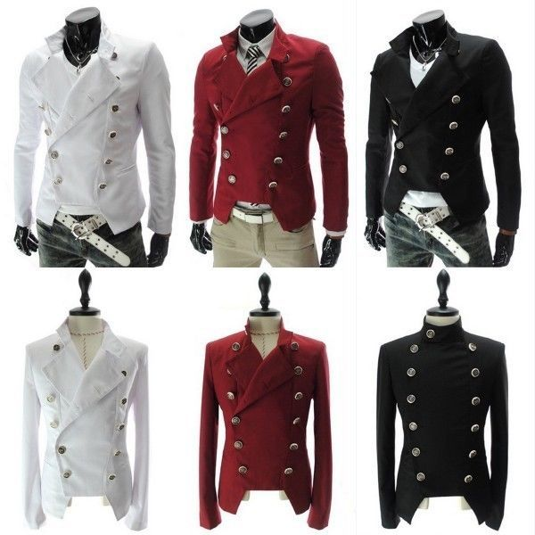 Stylish Mens Man's Rider Double-breasted Military Short Jacket ...