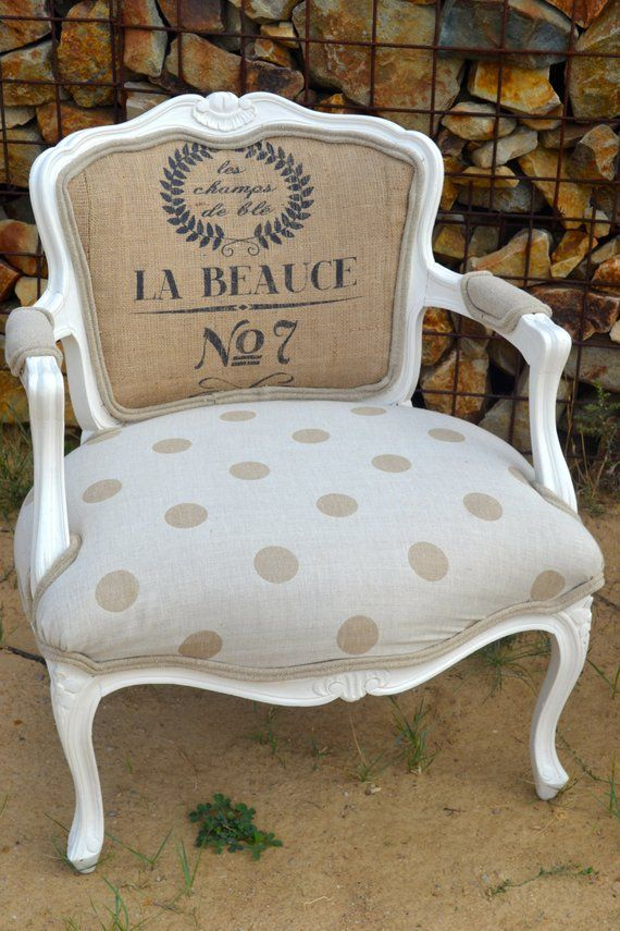 Vintage Accent Arm Chair French Style With Polka Dots And