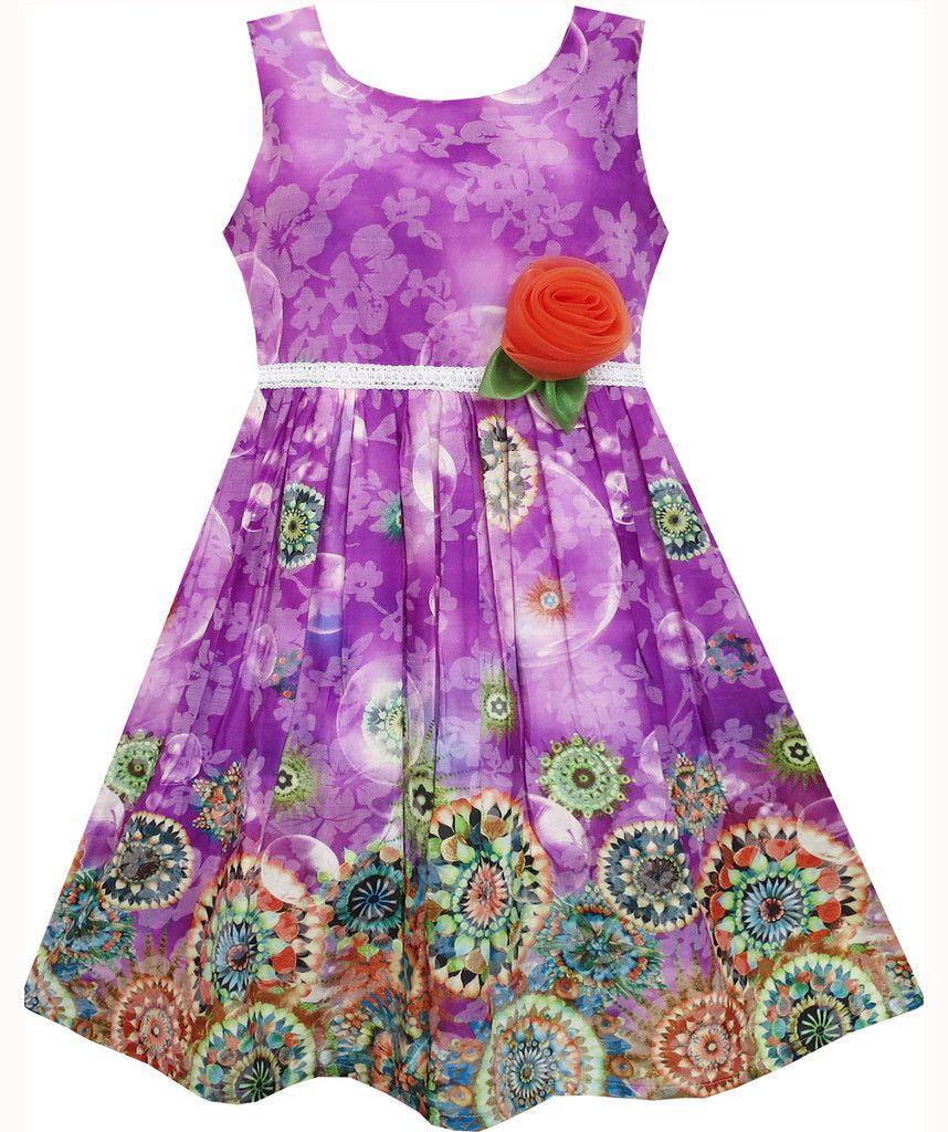 Girls Dress Sleeveless Bubble Flower Painting Style Purple Size 4-12 Years