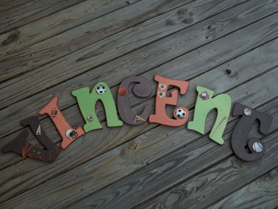 Set+of+7+DECORATED+WOODEN+LETTERS++9+wood+by+LettersAndThings,+$105.00