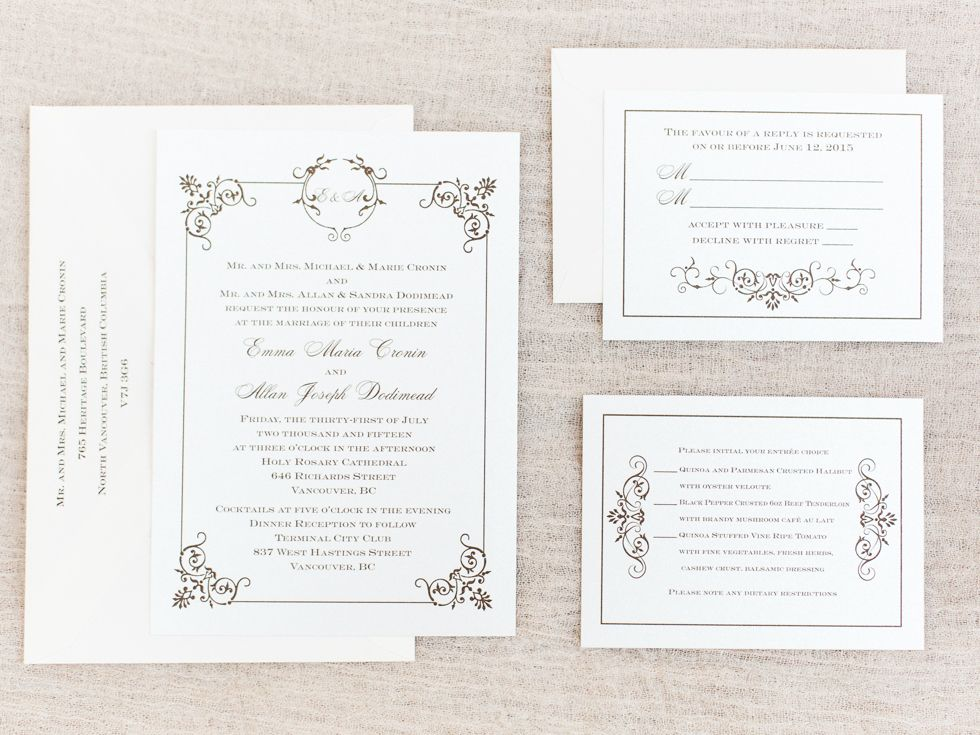 Christine Pienaar Photography, Vancouver Wedding, Kelowna Wedding, Elegant Wedding, Fine Art Wedding, Downtown Wedding, Pentax645N, Fuji400h, Wedding Invitation
