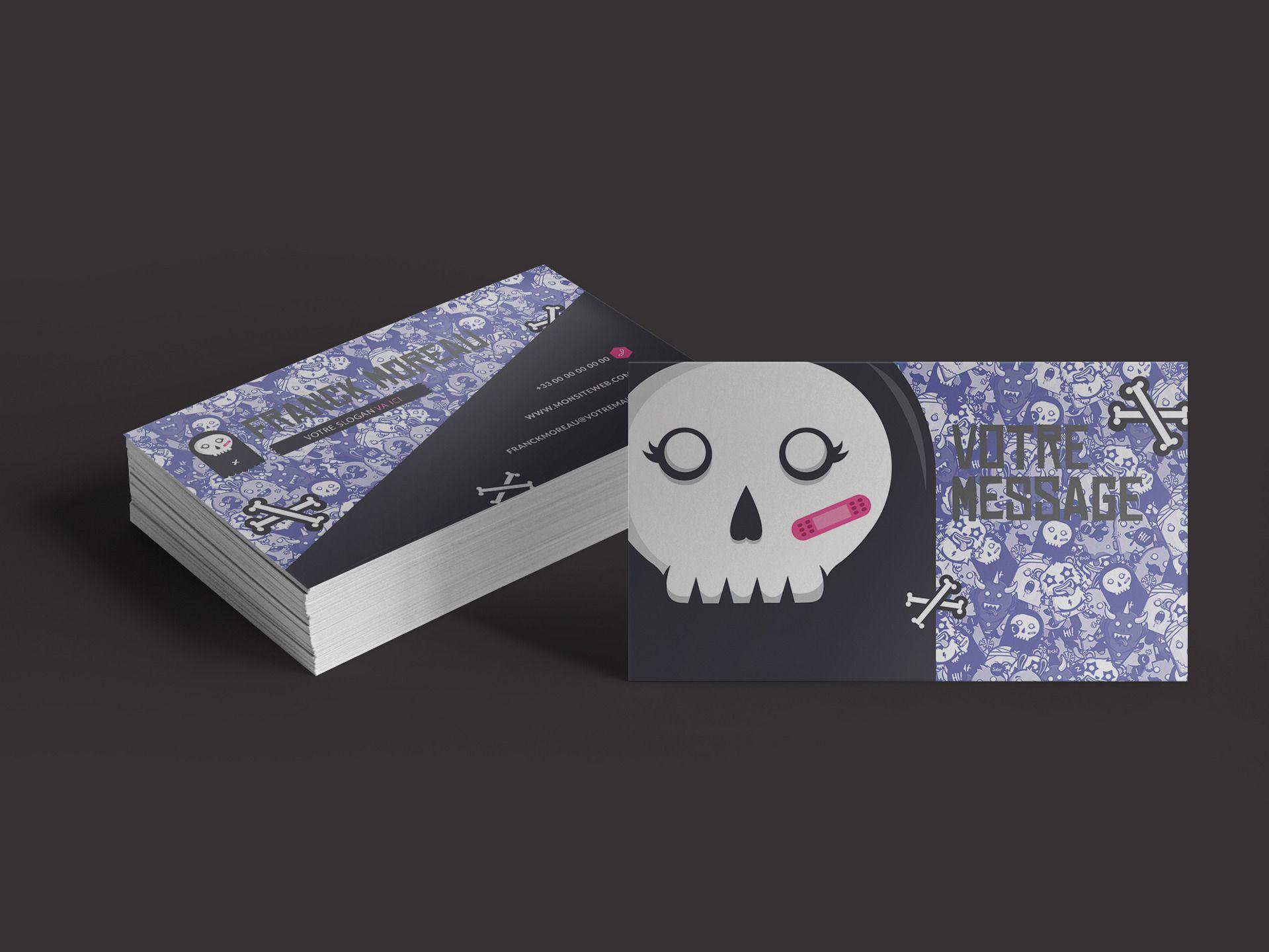 Carte De Visite Skull Monster A Personnaliser Art Numerique Par Themesgrafik