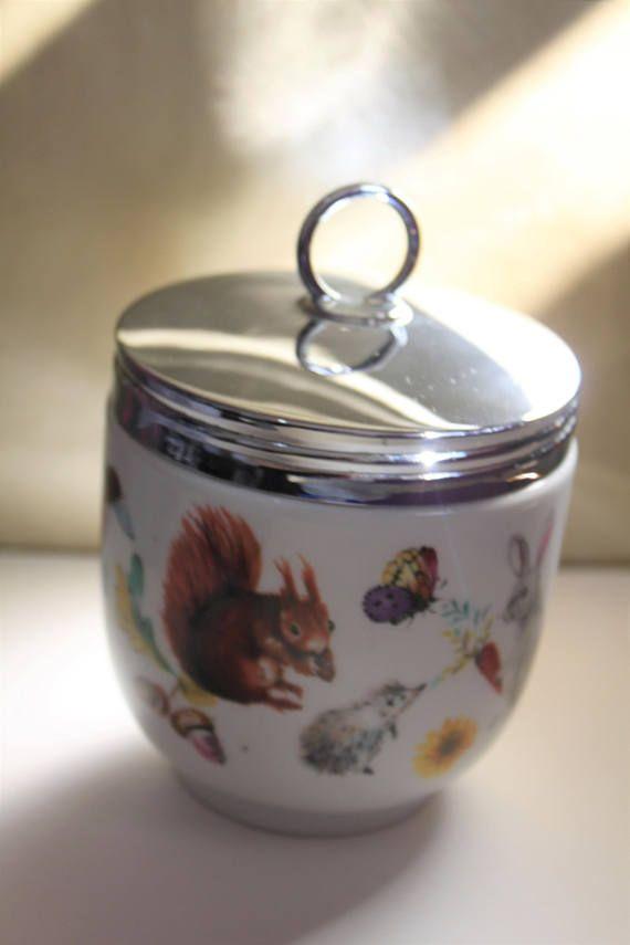 Flower Motif Porcelain China Made in England Mid Century Cottage Chic Egg Coddler Set Vintage Royal Worcester Egg Coddler