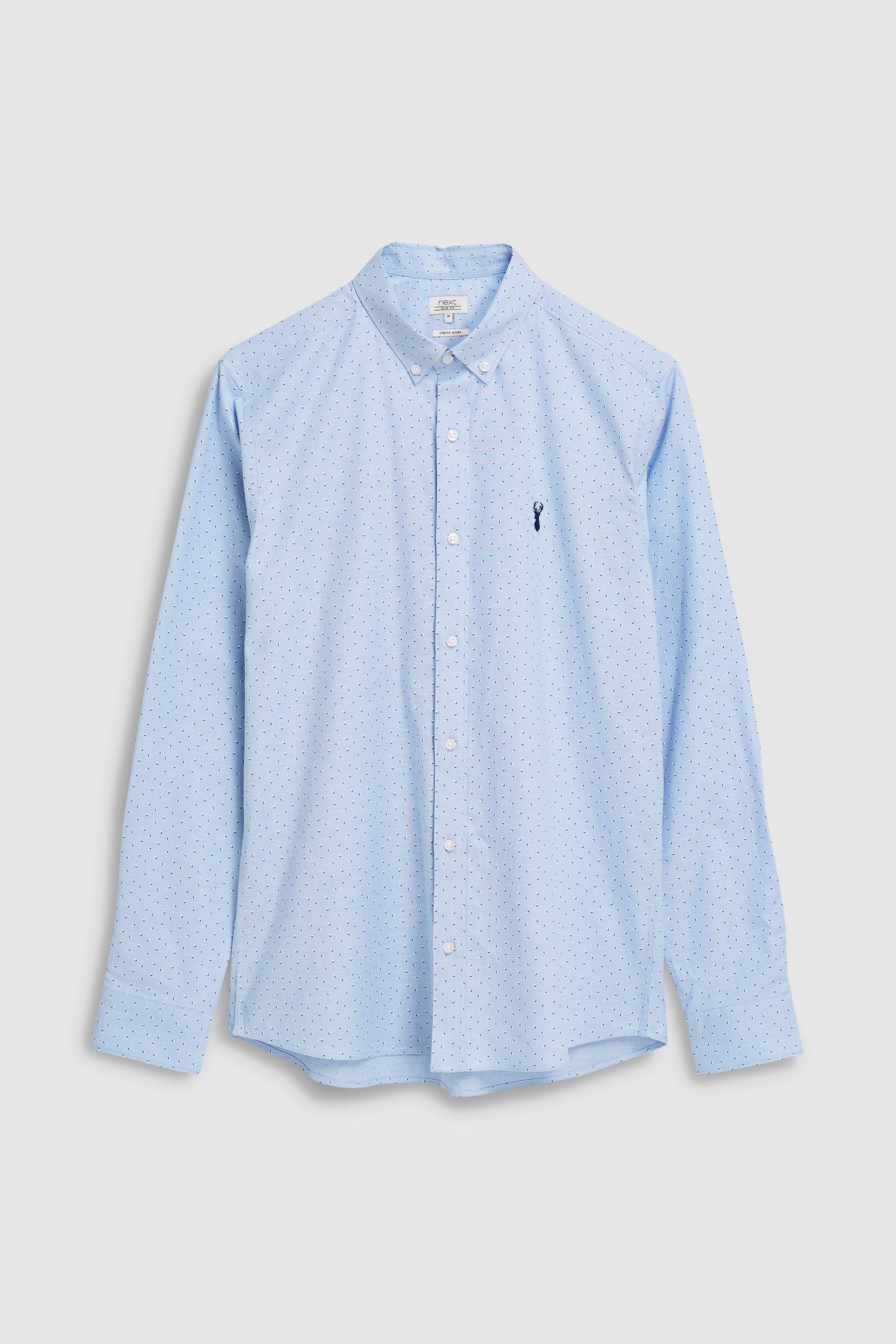 726c18f93 Mens Next Light Blue Print Slim Fit Long Sleeve Stretch Oxford Shirt - Pink