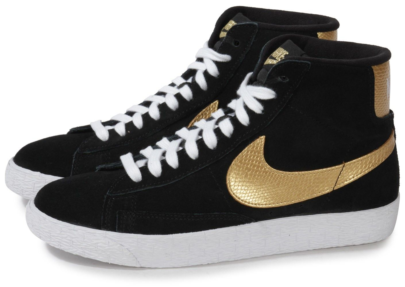 Chaussures Nike BLAZER MID NOIR OR vue extérieure