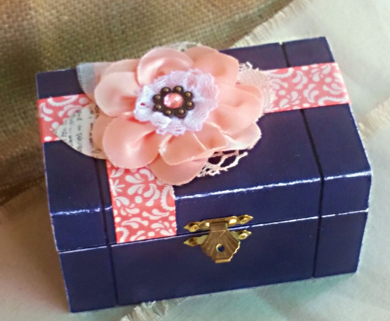 Navy blue and coral Ring Box, Ring Bearer Wedding Ring Box, Hand ...