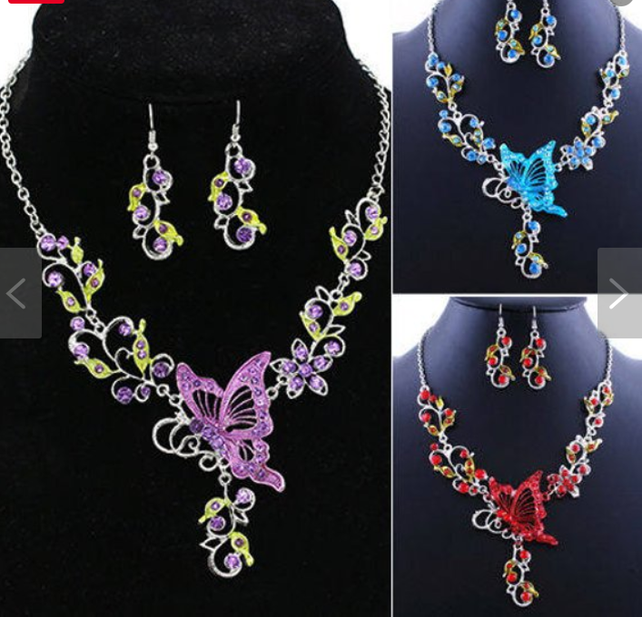 d697baad5ee582 Butterfly Flowers Rhinestones Pendant Necklace Earrings Set Statement  Necklace Accessories.Wedding Bridal Crystal Statement Body Chain Jewelry.