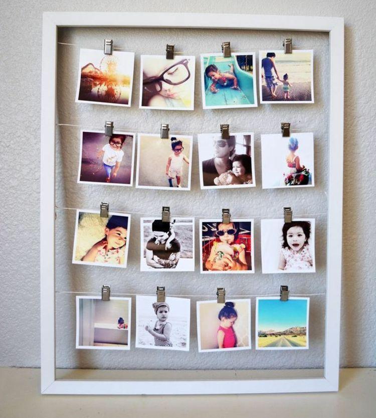viele polaroids in einem bilderrahmen deko pinterest polaroid bilderrahmen und fotowand. Black Bedroom Furniture Sets. Home Design Ideas