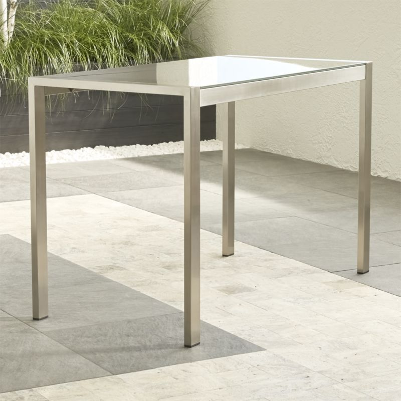 Dune Tall Taupe Painted Glass Dining Table Reviews Crate And