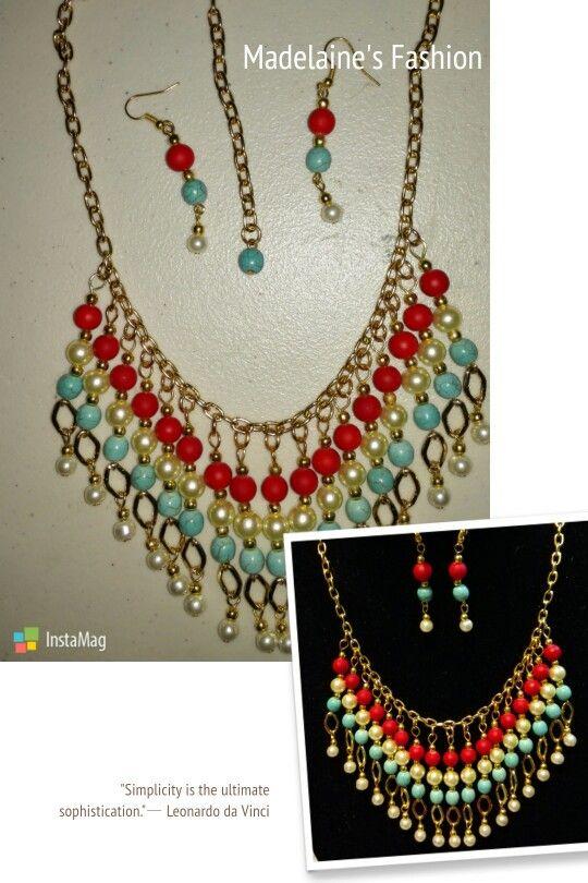 57183af19d42 Collar elaborado con cadenas perlas y piedras turquesa.
