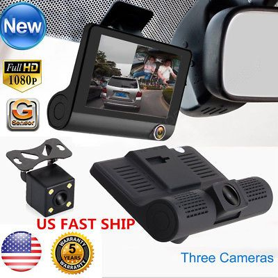 4/'/' Dual Lens HD 1080P 170° Car DVR Dash Cam G-sensor Recorder Rearview Camera