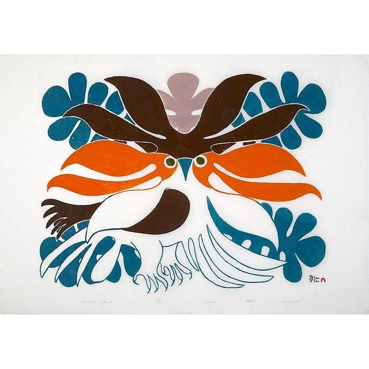 KENOJUAK ASHEVAK (19272013), TUNDRA HAWK, stonecut