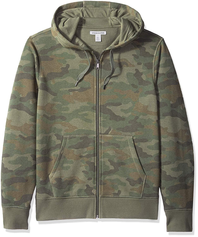 8690893ce0cd Amazon Essentials Men's Patterned Full-Zip Hooded Fleece Sweatshirt ...