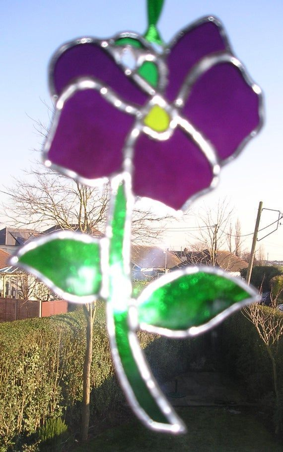 Violet Flower of the Month Birthday Flower for February Stained Glass Suncatcher Handmade in England