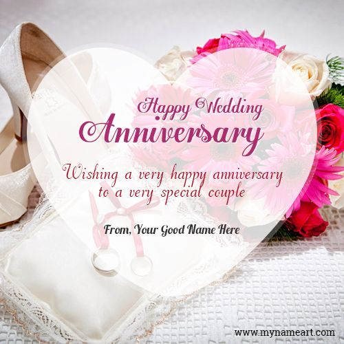 Happy wedding anniversary wishes for couple with name