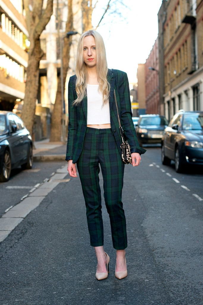 Consumer image Street Style  The (Ultrachic) Women of Menswear Fashion Week    A plaid suit is way more playful than your average blazer and trousers. ca563953497