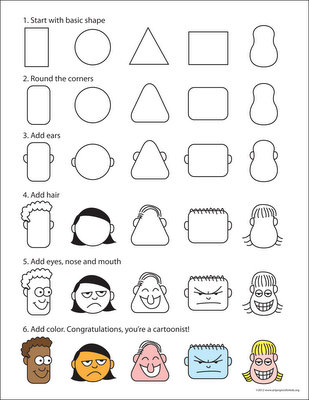 great cartoon faces drawing poster for older kids to use