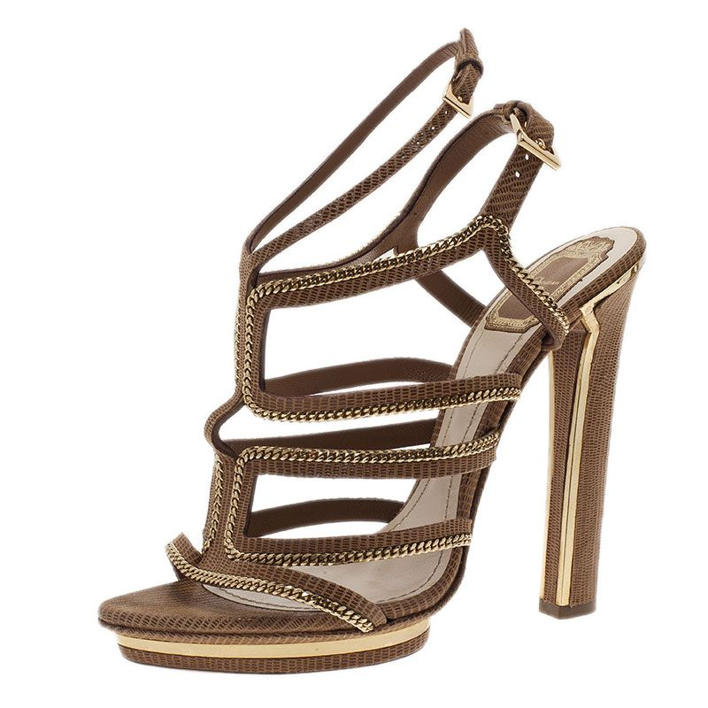 17326900d25 Dior Beige Lizard Embossed Chain Strappy Sandals Size 39 - Buy   Sell - LC