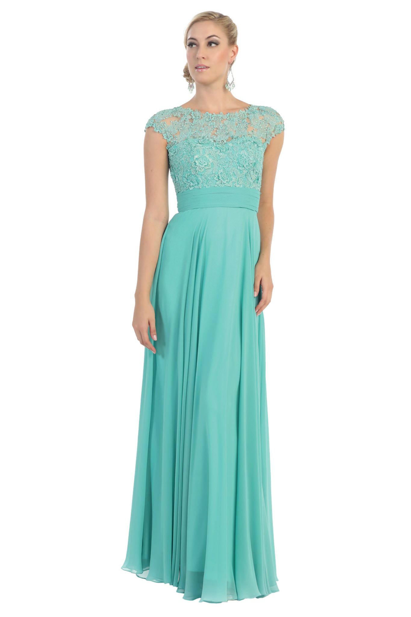 Elegant Modest Wedding Formal Gown Short Sleeve Lace Applique ...