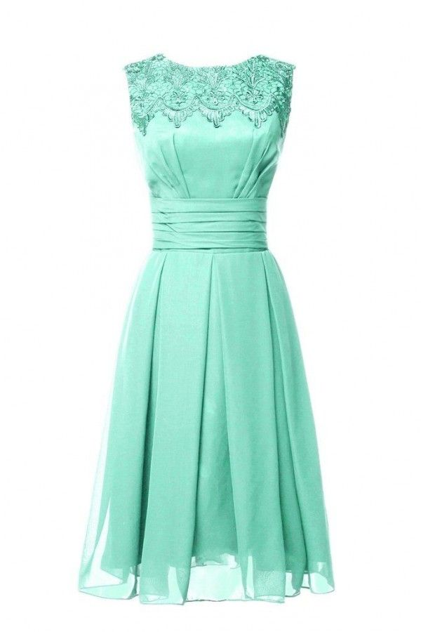 661159b3d0e Applique Chiffon Mint Green Zipper Back Short Bridesmaid Gown GBDRESS -2016MB040