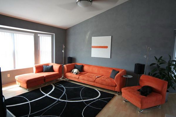 More Orange And Grey Ideas For The Living Room