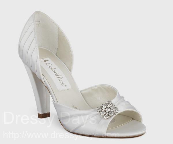 Wide Width Dani White Satin Peep-Toe Shoe with Square Rhinestone Brooch : CSW0339