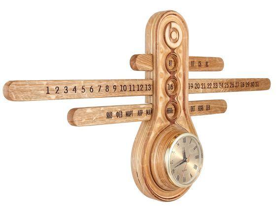Calendar Day Of Week Date Month And Clock Wood Art Wooden Clock Wood Clocks