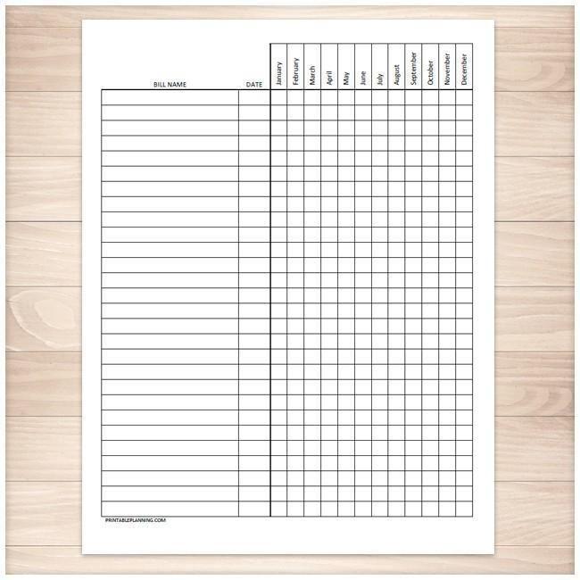 Bill Payment Tracker Log - Full Year - Printable at Printable
