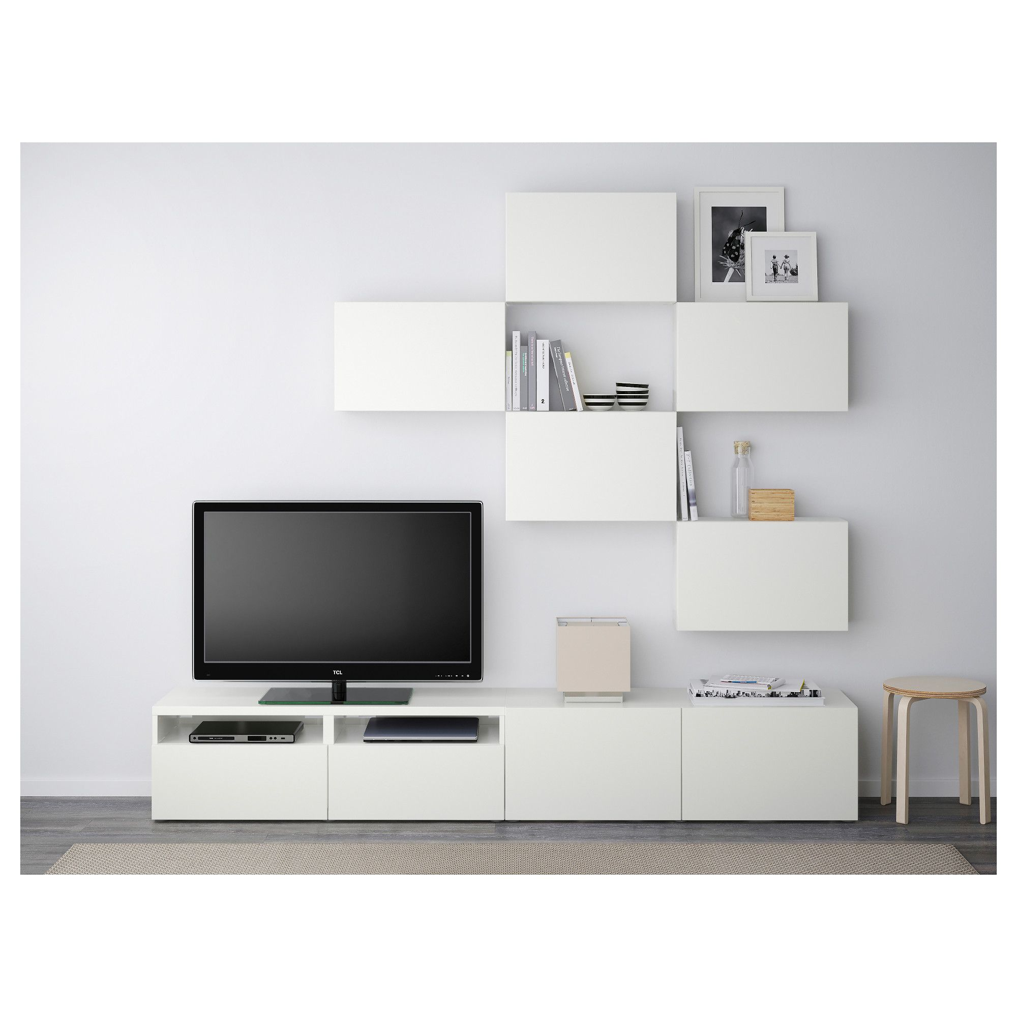 BEST TV storage combination, white stained oak effect, Selsviken  high-gloss/white white stained oak effect/Selsviken high-gloss/white drawer  runner, ...