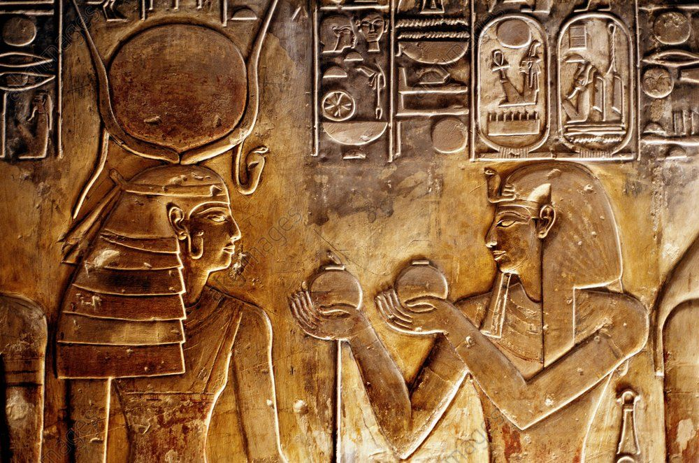 Seti I, Egypt. Pharaoh, 19th dynasty, 1290–1279 BC.  Seti I offering to Goddess Hathor.  Wall relief (detail) from the tomb of Pharaoh Seti I, Thebes-West, Valley of the Kings, KV 17.