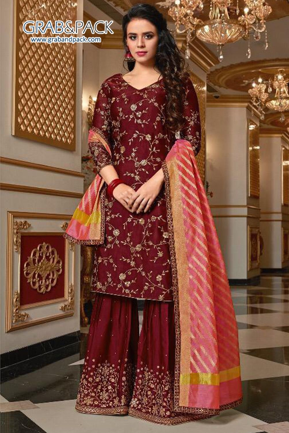 Maroon Colored Beautiful Embroidered Satin Georgette ...