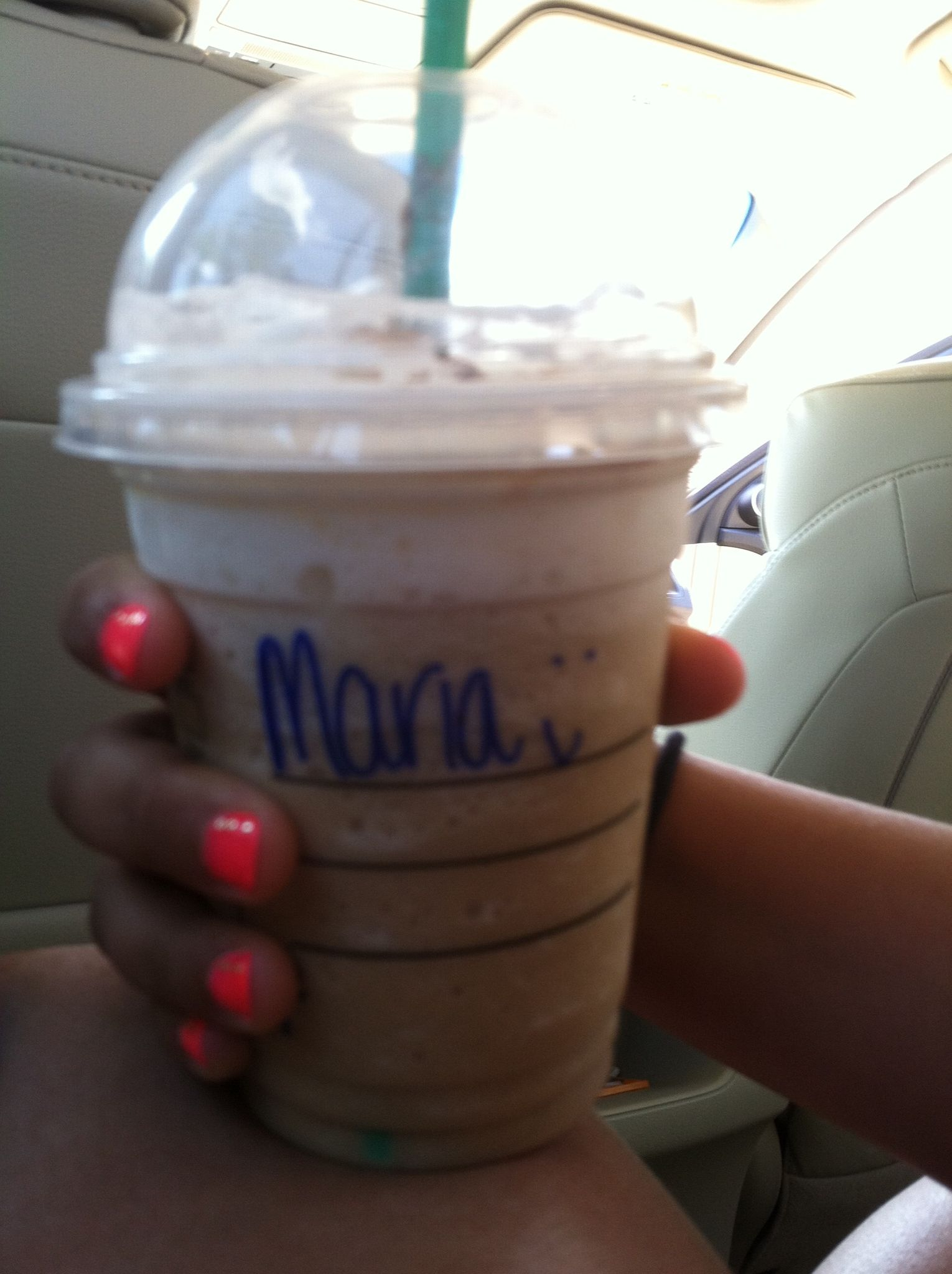 Starbucks white chocolate mocha frappe-chino with whip cream and ...