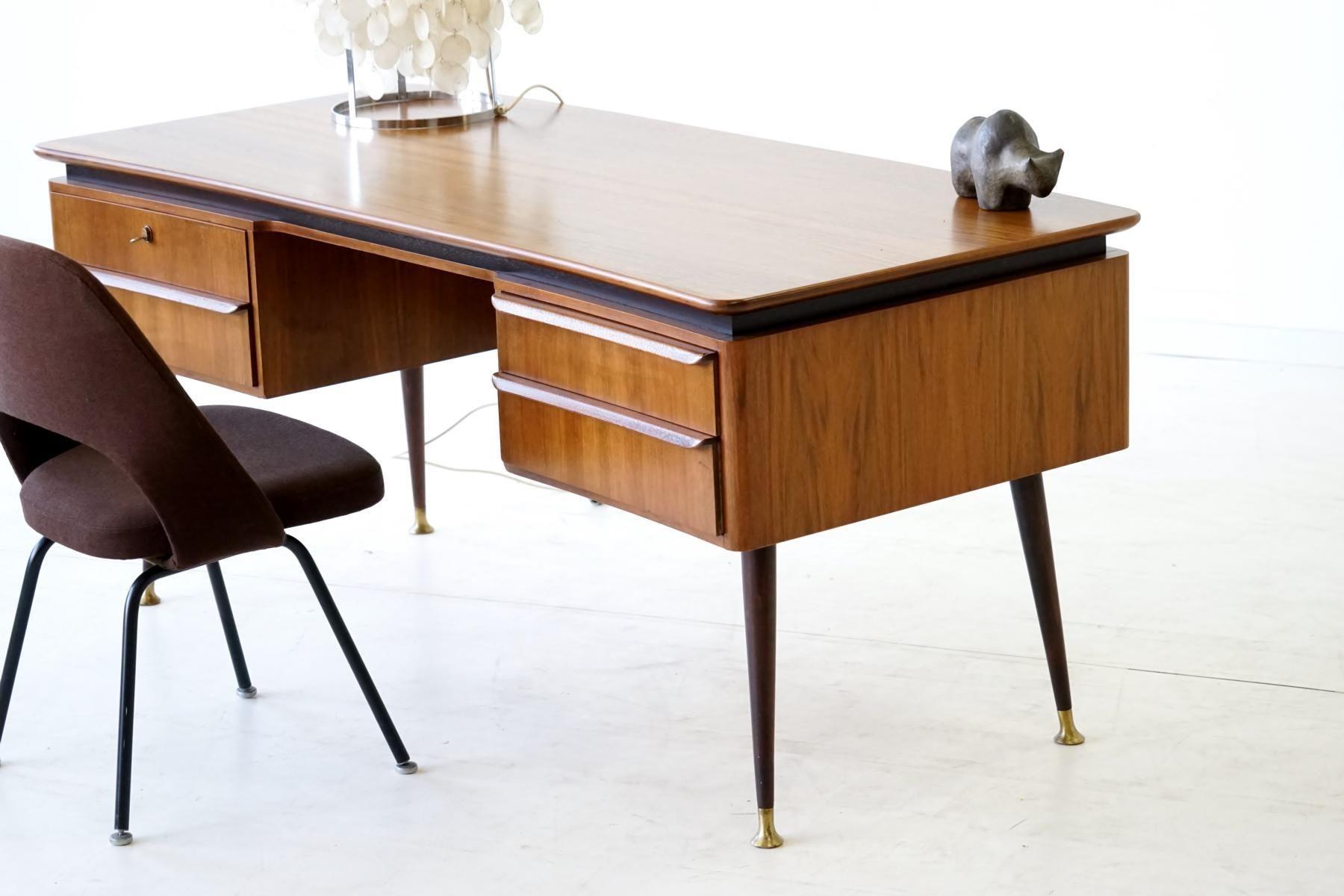 Vintage Walnut Desk By Erwin Behr For Behr 1950s 9 Walnut Desks Desk House Styles