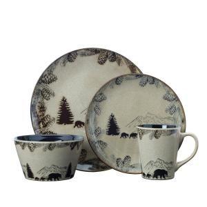 Pflatzgraff Backcounty Bear 16-Piece Brown Dinnerware Set (Service for 4) 5235884 #casualdinnerware