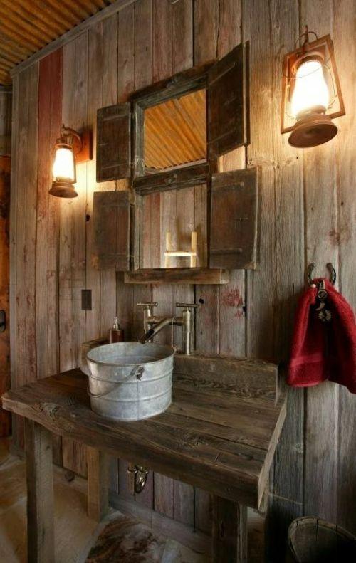 Ländliche Badezimmer Design Ideen Rustikal Holz Originell Laternen