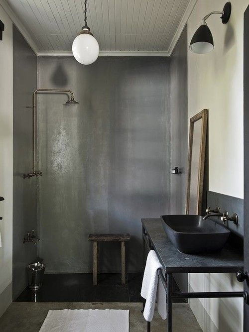 black metal bathroom vanity with pipes for hanging towels | HOUSE ...