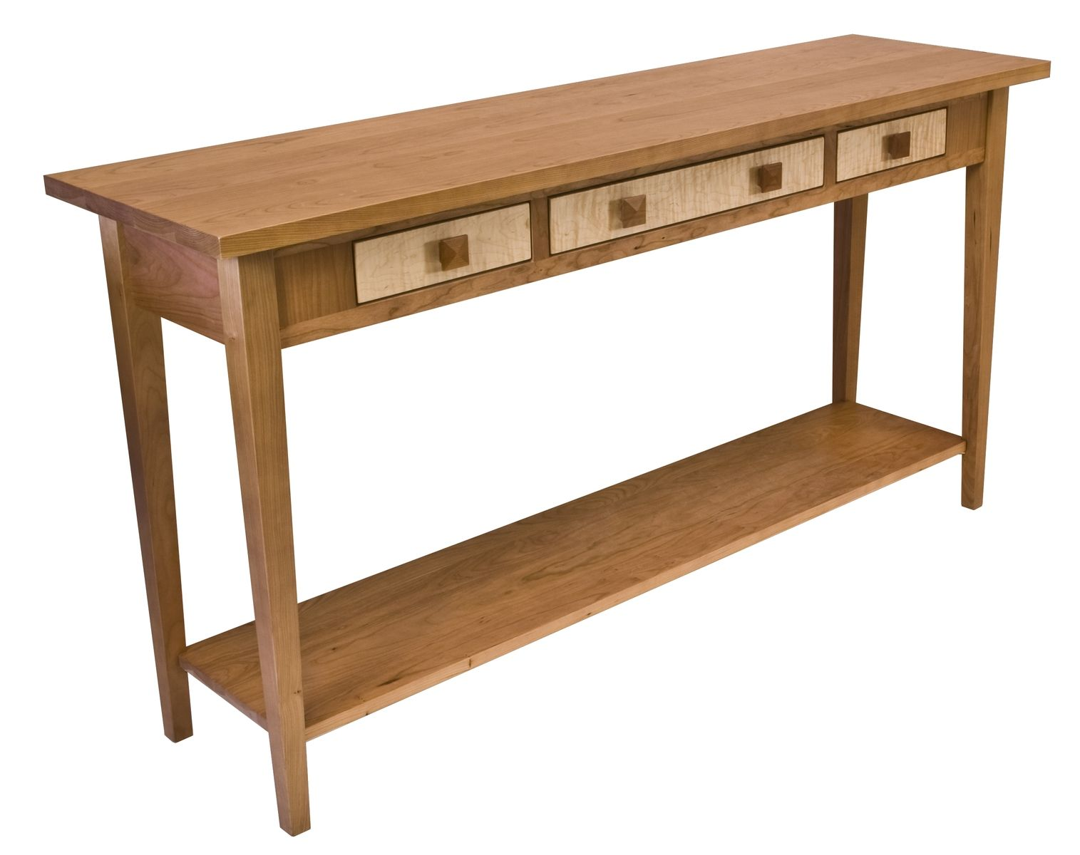 Custom Cherry Sofa Table With Curly Maple Drawers Rustic Console Tables Table Woodworking Table