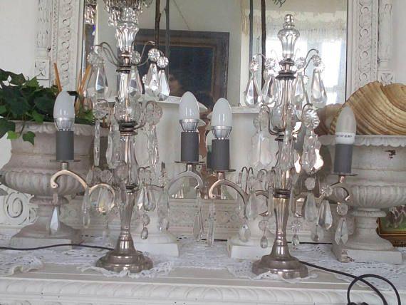 Guarda questo articolo nel mio negozio Etsy https://www.etsy.com/it/listing/545764597/pair-of-french-silver-brass-and-crystal